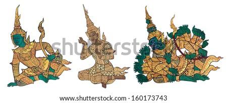 Main characters of Ramayana, Rama, Lakshamana, Ravana, Thai traditional style painting  - stock photo