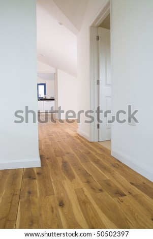 Main corridor or hallway and landing of a large new modern property - stock photo