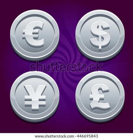 Main currencies symbols represented as shiny silver coins. Dollar, Euro, Pound and Yen, similarJPG copy - stock photo