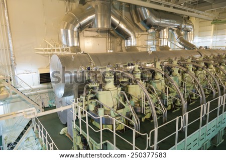main engine of a big ship - stock photo