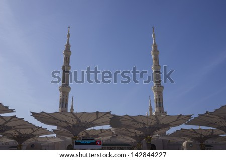 Main entrance gate of Masjid Nabawi in Al Madinah, S. Arabia. Nabawi mosque is the 2nd holiest mosque in Islam. - stock photo