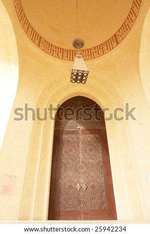 Main entrance of Grand Mosque in Bahrain - stock photo