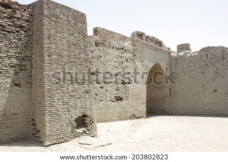 Main entrance of OmarKot Fort in sindh - stock photo