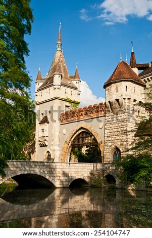 Main entrance of the Vajdahunyad castle, Budapest - stock photo