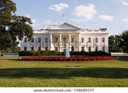 Main entrance of White House at 1600 Pennsylvania Avenue Washington DC - stock photo
