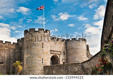 Main entrance, Stirling Castle, Scotland showing two guard towers - stock photo