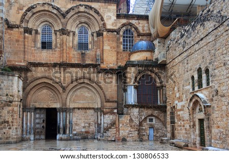 Main entrance to the Church of the Holy Sepulchre in Jerusalem, Israel - stock photo