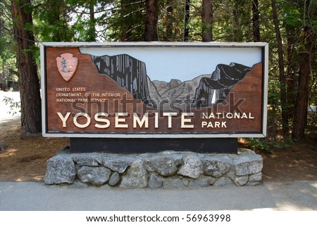Main entrance to Yosemite National Park, California - stock photo