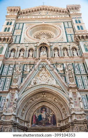 Main facade of The Basilica di Santa Maria del Fiore (Basilica of Saint Mary of the Flower) in Florence, Italy - stock photo