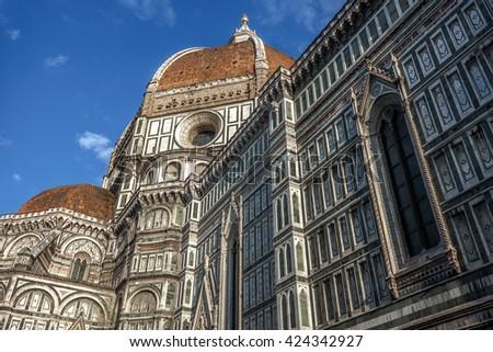 Main facade of The Basilica di Santa Maria del Fiore (Basilica of Saint Mary of the Flower) in Florence, Italy, 2016 - stock photo
