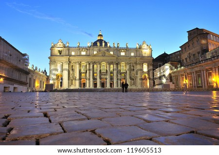 Main facade of the Basilica of Saint Peter's work Maderno & erected in front of the same name in the Vatican City. It is the largest church in Christendom, where the Pope imparts blessings. Night view - stock photo