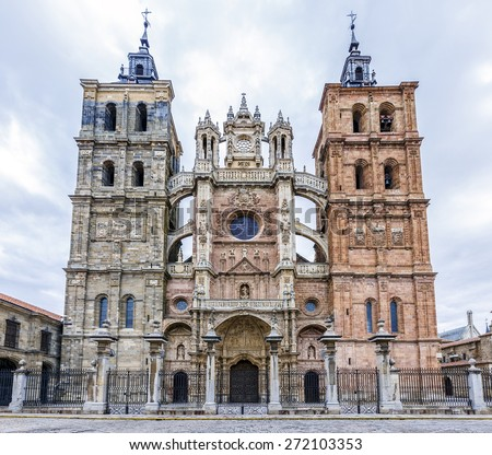 Main facade of the Cathedral of Astorga Spain. - stock photo