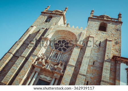 Main facade of the cathedral of Porto. - stock photo