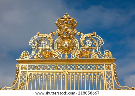 Main Gate in the Palace of Versailles, France - stock photo