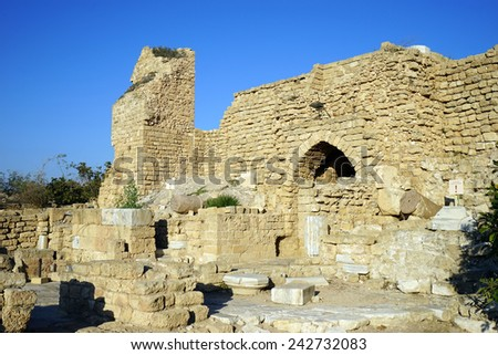 Main gate of fortress in Caesarea, Israel                                - stock photo
