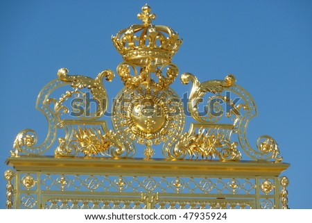 Main gate of the Versailles castle, France - stock photo