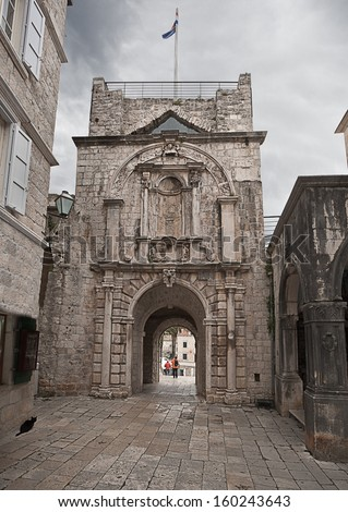 main gate to the old Korcula town. Croatia. - stock photo