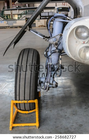 Main landing gear. - stock photo