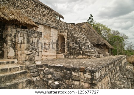 Main piramid in ancient Maya city of Ek Balam. Ek Balam in the yucatan is a recently discovered Maya city lost in the jungle archaeological sites. - stock photo