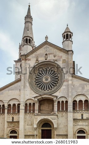 Main portall. Modena Cathedral is a Roman Catholic Romanesque church in Modena, Italy. Consecrated in 1184, it is an important Romanesque building in Europe and a World Heritage Site. - stock photo