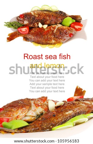 main portion of two grilled fish served on plate with tomatoes and rosemary - stock photo