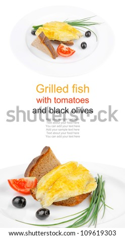 main portion: served roast golden fish fillet over white plate with tomatoes and olives - stock photo