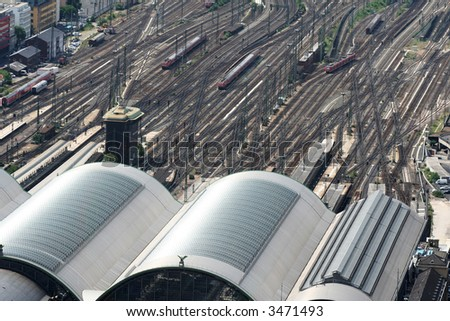 Main railway station with trains.City rail station from air - stock photo