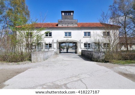Main security building, entrance at Dachau concentration camp in Germany - stock photo