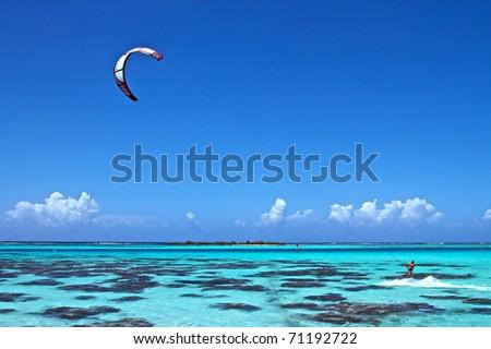 Main spot of Kitsurf on Moorea island, French Polynesia - stock photo