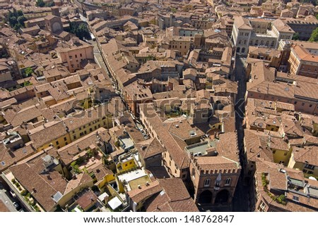 Main square aerial view for asinelli tower - bologna - stock photo