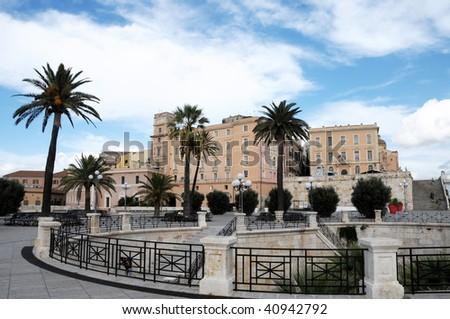 Main square Cagliari Sardinia,Italy - stock photo