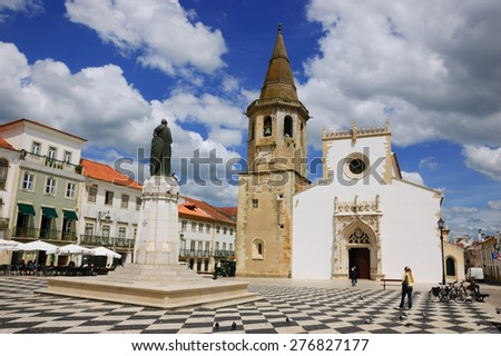 Main square of medieval town Tomar (Portugal) - stock photo