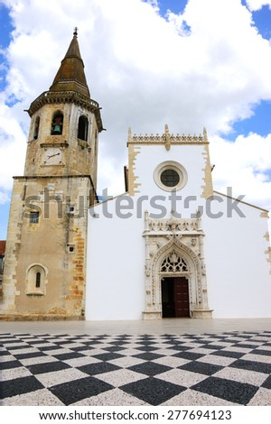Main square of medieval town Tomar (Portugal).  - stock photo