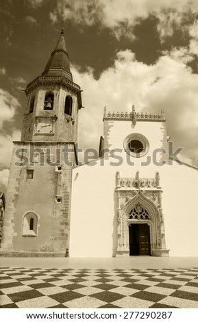 Main square of medieval town Tomar (Portugal). Aged photo. Sepia. - stock photo