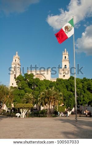 Main Square of Merida (Mexico) - stock photo