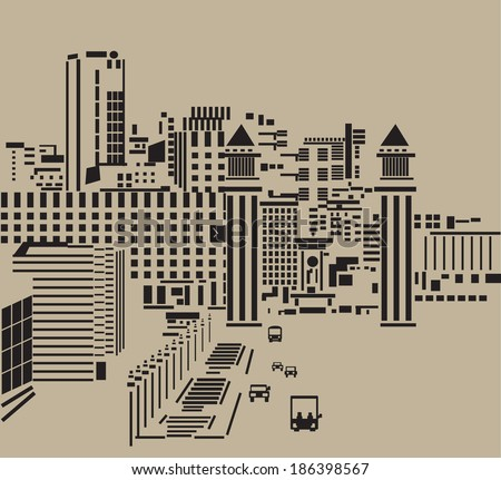 Main street in city. The big tower in the main street of the abstract city. Black and neutral kraft colored silhouette, graphic vector illustration. - stock photo