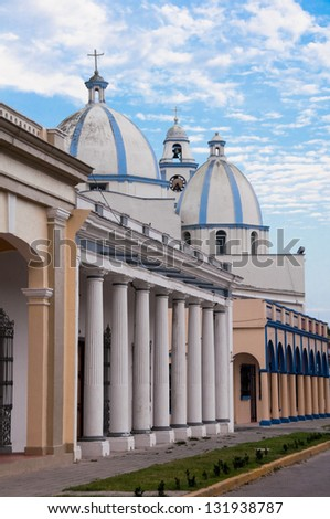 Main street of Tlacotalpan, UNESCO World Heritage Site in 1998 (Mexico) - stock photo