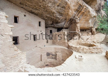 Main well in Cliff Palace, ancient puebloan village of houses and dwellings in Mesa Verde National Park, New Mexico, USA - stock photo