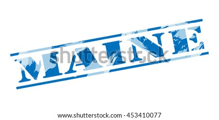 maine blue stamp on white background - stock photo