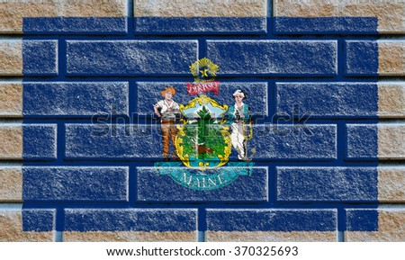 Maine state flag of America on brick wall - stock photo