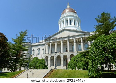 Maine State House is the state capitol of the State of Maine in Augusta, Maine, USA. Maine State House was built in 1832 with Greek Revival style. - stock photo