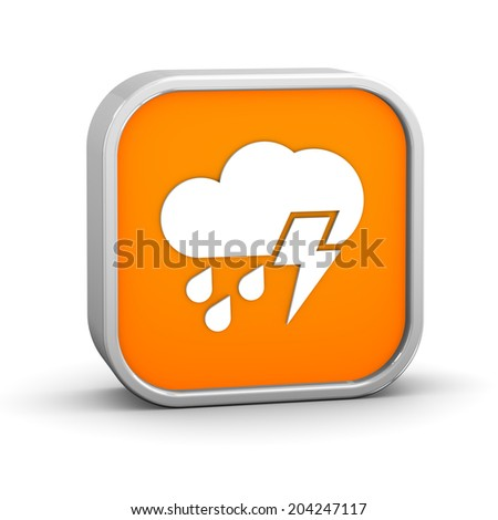 Mainly cloudy with considerable amount of rain and possibility of lightning sign on a white background. Part of a series.  - stock photo