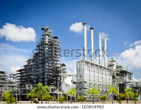 Maintenance  column tower in petrochemical plant - stock photo