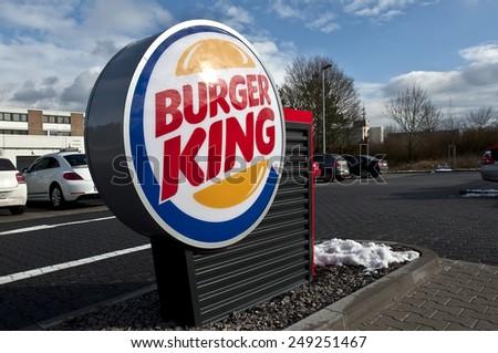 MAINZ,GERMANY-FEB 02:Burger King Restaurants logo on February 02,2015 in Mainz, Germany.Burger King, often abbreviated as BK, is a global chain of hamburger fast food restaurants,United States - stock photo