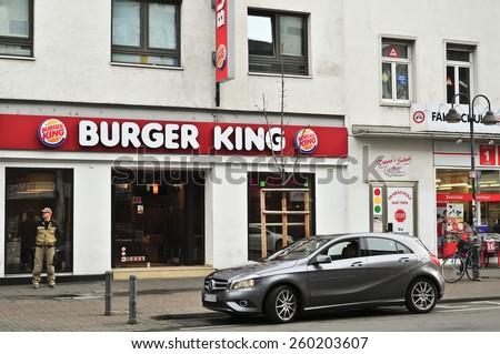 MAINZ,GERMANY- FEB 21:Burger King Restaurants on February 21,2015 in Mainz, Germany.Burger King, often abbreviated as BK, is a global chain of hamburger fast food restaurants,United States. - stock photo