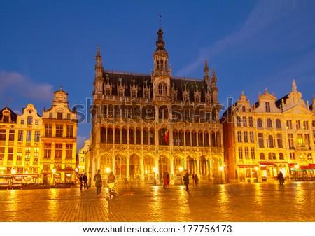 Maison du Roi at night, Brussels, Belgium - stock photo
