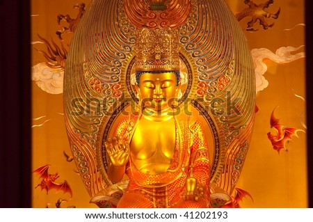 Maitreya Buddha of the tooth temple China town Singapore - stock photo