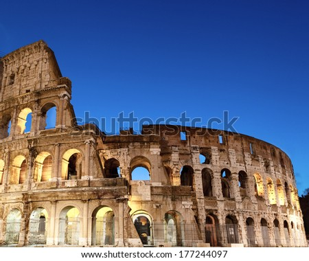 Majestic Coliseum early in the morning.Rome,Italy. - stock photo