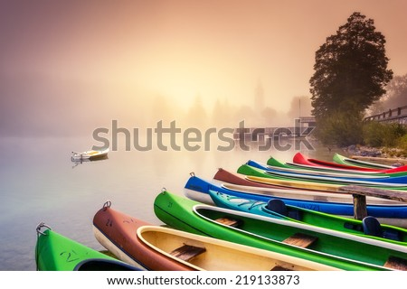 Majestic colorful scenery on the foggy lake in Triglav national park, located in the Bohinj Valley of the Julian Alps. Dramatic view. Instagram effect, retro filter. Slovenia, Europe. Beauty world. - stock photo