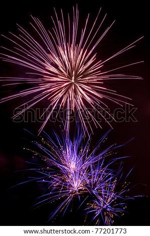 Majestic fireworks at night - stock photo